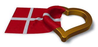 Flag of denmark and heart Royalty Free Stock Photography
