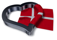 Flag of denmark and heart Stock Photography