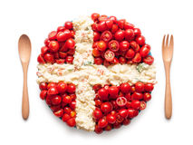 Flag of Denmark made of  tomato and salad Royalty Free Stock Photo