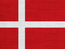 Flag of Denmark on old linen Royalty Free Stock Photography
