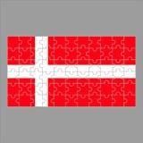 Flag of Denmark puzzle on gray background. stock illustration