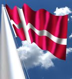 The flag of Denmark is red with a white Scandinavian cross that extends to the edges of the flag; the vertical part of the cross i. S shifted to the hoist side Stock Image