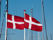 Flag of Denmark up high Stock Photos