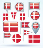 Flag of Denmark, vector illustration. Royalty Free Stock Photography