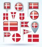 Flag of Denmark, vector illustration. Royalty Free Stock Photography