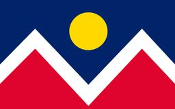 Flag of Denver in Colorado, USA. Flag of Denver is the capital and most populous municipality of the U.S. state of Colorado - United States stock photography