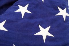 Flag Detail. Detail of the American Flag showing the blue field with stars embroidered Royalty Free Stock Photography