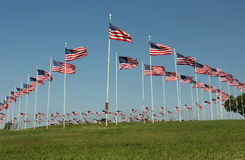 Flag Display at Cemetary. Waving flags of display honoring veterans at country cemetary on Memorial Day royalty free stock images