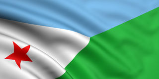 Flag Of Djibouti. 3d rendered and waving flag of djibouti royalty free stock images