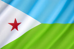 Flag of Djibouti. Adopted on 27th June 1977, following the country's independence from France. The light blue represents the Issa Somalis, and the green Royalty Free Stock Photos