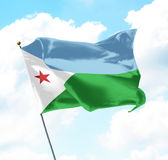 Flag of Djibouti. Raised Up in The Sky royalty free stock images