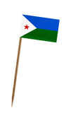 Flag of Djibouti. Tooth pick wit a small paper flag of Djibouti stock image