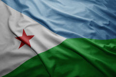 Flag of Djibouti. Waving colorful national Djibouti flag stock image