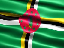 Flag of Dominica. Computer generated illustration with silky appearance and waves Royalty Free Stock Image