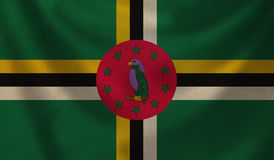 Flag of Dominica. Vintage background with flag of Dominica. Grunge style stock illustration