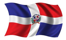 Flag of Dominican Republic. Waving in the wind - CLIPPING PATH INCLUDED Stock Images