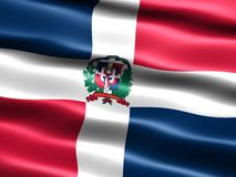 Flag of the Dominican Republic. Computer generated illustration with silky appearance and waves Royalty Free Stock Photo