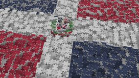 Flag of the Dominican Republic being made with jigsaw puzzle pieces. Problem solution conceptual 3D rendering. Flag made of puzzle pieces, conceptual 3D royalty free illustration