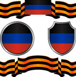 Flag of donetsk republic and georgievsky ribbon Royalty Free Stock Photo