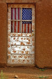 Flag Door. This is an image of a door in Taos Pueblo, New Mexico Royalty Free Stock Photography