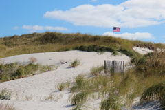 Flag in dunes. American flag on top of sand dunes of cape cod in color Stock Image