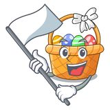 With flag easter basket above wooden cartoon table vector illustration