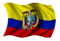 Flag of Ecuador. Waving in the wind - clipping path included