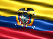 Flag of Ecuador. Computer generated illustration with silky appearance and waves Stock Images
