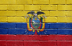 Flag of Ecuador on brick wall Stock Images
