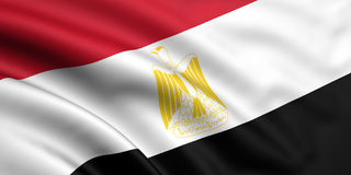 Flag Of Egypt. 3d rendered and waving flag of egypt