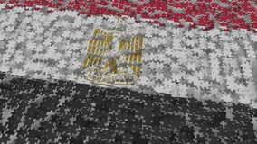 Flag of Egypt being made with jigsaw puzzle pieces. Egyptian problem solution conceptual 3D rendering. Flag made of puzzle pieces, conceptual 3D stock illustration