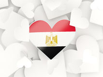 Flag of egypt, heart shaped stickers. Background. 3D illustration Royalty Free Stock Images
