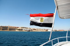 Flag of Egypt on the ship Stock Images