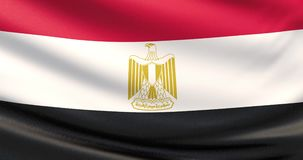 The flag of Egypt. Waved highly detailed fabric texture. Close up of Egypt flag blowing in the wind stock video footage