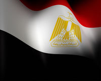Flag of Egypt waving in the wind detail Stock Image