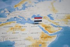 The Flag of egypt in the world map.  royalty free stock photo