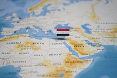 The Flag of egypt in the world map.  stock images