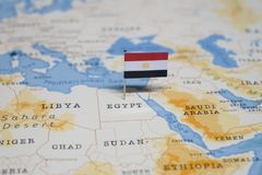 The Flag of egypt in the world map.  royalty free stock photography