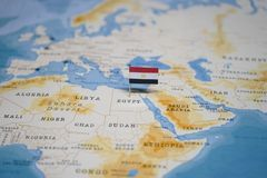 The Flag of egypt in the world map.  stock image
