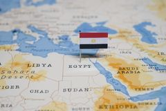 The Flag of egypt in the world map.  royalty free stock image