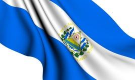 Flag of El Salvador. Against white background. Close up stock illustration