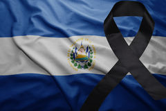 Flag of el salvador with black mourning ribbon Stock Photo