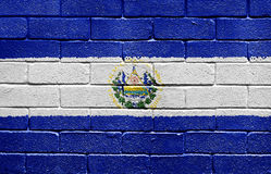 Flag of El Salvador on brick wall Royalty Free Stock Photo