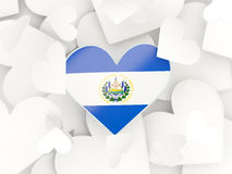 Flag of el salvador, heart shaped stickers. Background. 3D illustration Royalty Free Stock Images