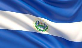 Flag of El Salvador. Waved highly detailed fabric texture. 3D illustration. vector illustration