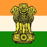 The flag and the emblem of India. Country Royalty Free Stock Photography