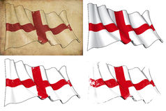 Flag of England. Waving English flag. 4 options for multiple uses 1) aged paper, 2) clean cut, 3) scratched surface and 4) under texture Stock Photography