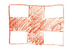 The flag of England, hand painted with watercolors pencil. State symbol of England