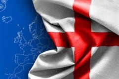 Flag of England. On map background Stock Image