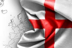Flag of England. On map background Stock Photo